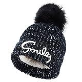 VBIGER 子供 暖かい帽子 ニット帽 キャップ 柔らか 男の子 女の子 かわいい 旅行用 スキー アウトドア (ブラック)