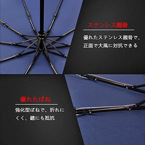 Vinker 折りたたみ傘 自動開閉折り畳み傘 10本骨 耐強風 晴雨兼用 118cm(ブルー) 傘収納カバー付き