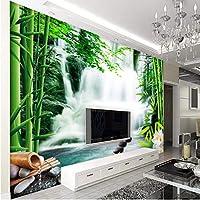 Wuyyii カスタム壁紙リビングルームの寝室の壁画竹林温泉滝蓮の花テレビの背景3D壁紙-350X250Cm