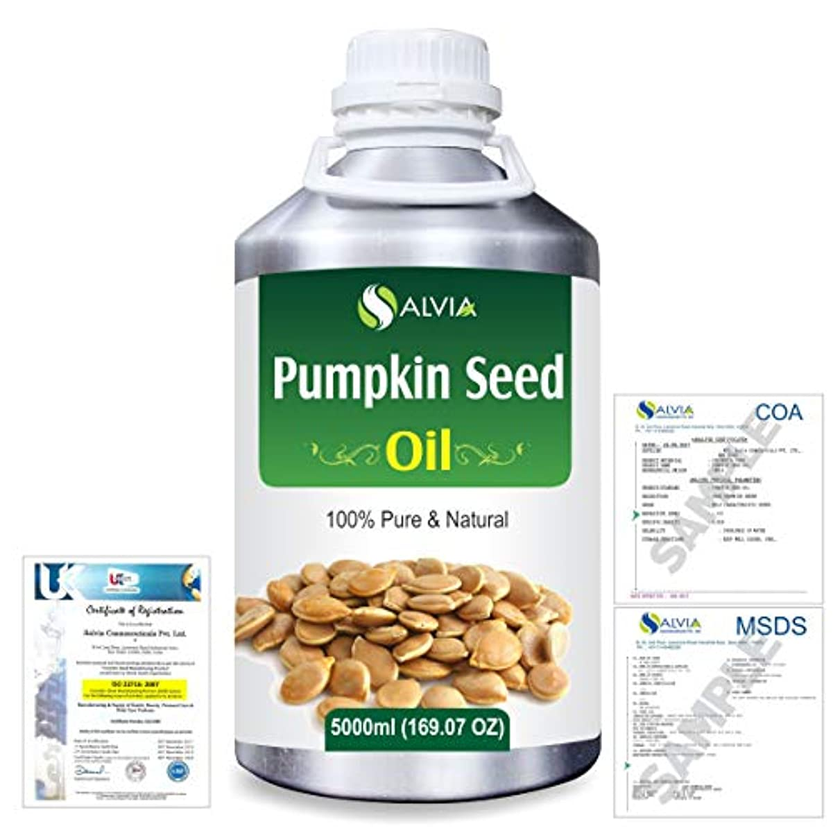 うめきまた明日ね爬虫類Pumpkin Seed Oil (Cucurbita Pepo) Natural Pure Undiluted Uncut Carrier Oil 5000ml/169 fl.oz.