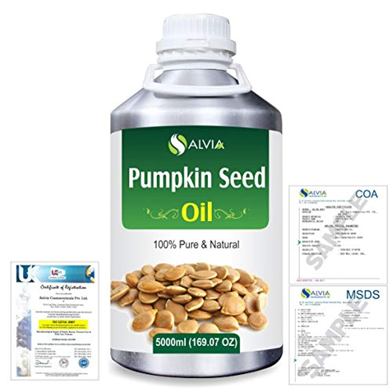 沈黙株式会社巻き取りPumpkin Seed Oil (Cucurbita Pepo) Natural Pure Undiluted Uncut Carrier Oil 5000ml/169 fl.oz.