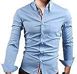 【 スマイズ スマイル 】 Smaids×Smile メンズ 長袖 Yシャツ スリム 襟 付き 柄 ドレス シャツ (ライトブルー L)