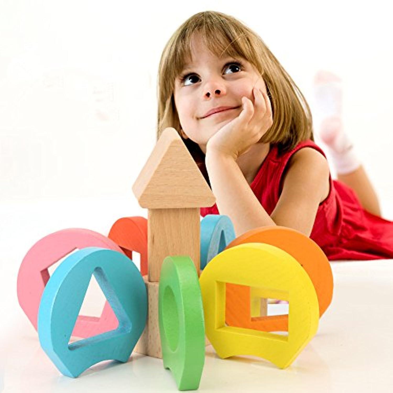 子供フラワー幾何パズル、木製幾何ネストパズル早期開発ボード学習おもちゃforキッズ赤ちゃん幼児用