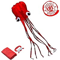 Huge Red Octopus Kite Easy Flyer Kite for Kids with文字列とストレージバッグ