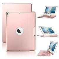 iPad 9.7 キーボード 2018 七色バックライト 360度回転スタンド 反転可能 オートストップ ipad Air2 bluetooth キーボード ipad 9.7 2017/Air/Pro 9.7 2016通用キーボードケース (ローズ金)