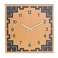 表 木製の柱時計、アラビアデジタルクォーツの柱時計の無声スキャンのレトロの正方形の木製の時計の居間の寝室の壁の装飾の簡単で流行の柱時計 (Color : Brown)