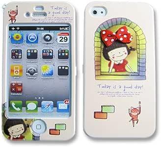 【iPhone4S/4用】iPhone4sケース・女の子とリボンのフルカバーケース (Type18)【液晶保護フィルム付き】