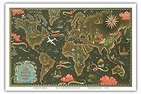 世界地図 - ビンテージな航空会社のポスター によって作成された ルシアン・ブーシェ c.1948 - アートポスター - 31cm x 46cm