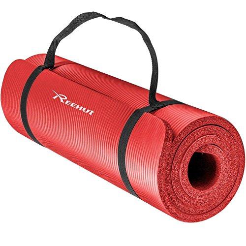 Reehut 10mm の超厚くて高密度のNBRヨガマットはPilates、フィットネス鍛錬に用いられます/サスペンダーがあります (赤色)