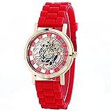 腕 時計 スケルトン 歯車 機械 仕掛 アナログ ファッション アクセサリー カジュアル ビジネス メンズ レディース 男性 女性 男 女 兼 用 ( レッド ) ZM-WATCH2-1274-RD
