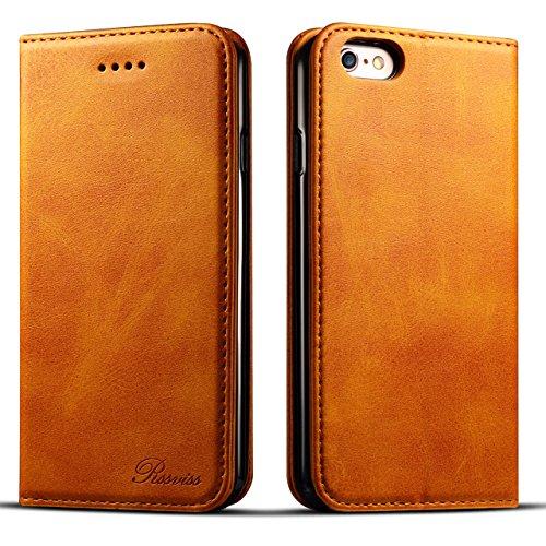 iphone6sケース 手帳型 iphone6ケース 手帳 Rssviss 耐衝撃 耐摩擦 高級PUレザー 財布型 アイフォン6sケース レザー アイフォン 6s ケース 手帳 アイフォン6ケース カバー カード収納 マグネット スタンド機能 人気 おしゃれ [iPhone 6 /iPhone 6s 4.7 inch 適応]-レトロブラウン