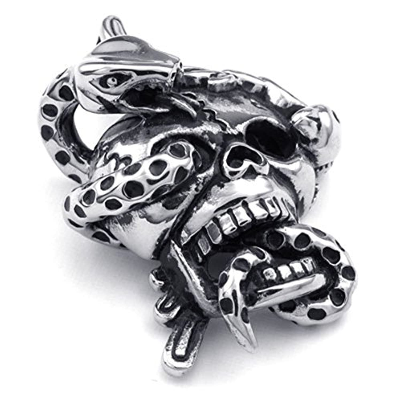 [テメゴ ジュエリー]TEMEGO Jewelry メンズステンレススチール製のヴィンテージゴシックスカルスネークペンダントネックレス、ブラックシルバー[インポート]