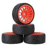 Mxfans 4個入れ RC1:10オンロードカーのため レッド プラスチック 14スポーク ホイールリム& ブラック 魚スケールパターンラバー タイヤ