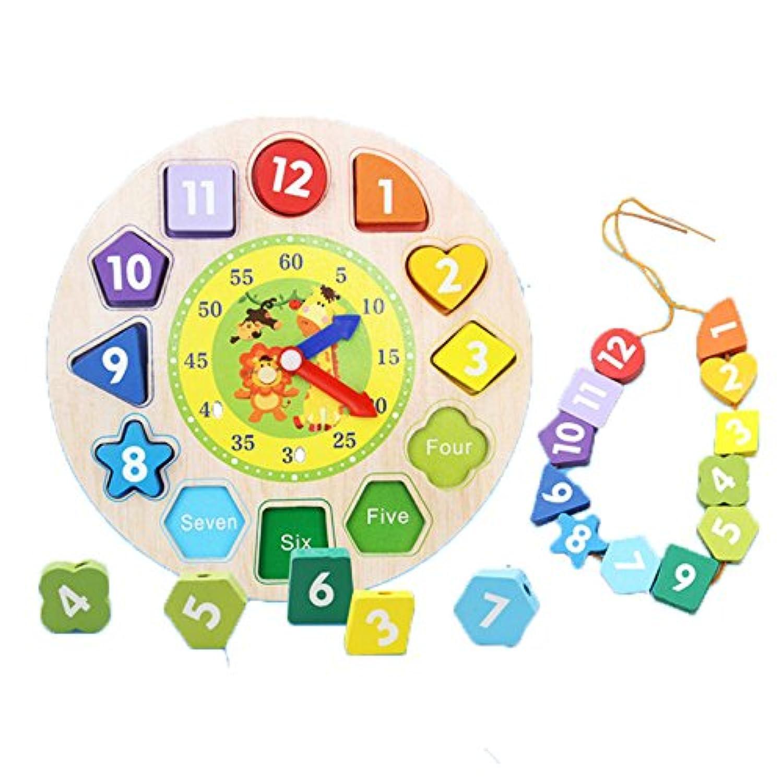 木製  時計 おもちゃ  型はめ パズル グクロック  学習 教育 知育玩具 (ひも通し)