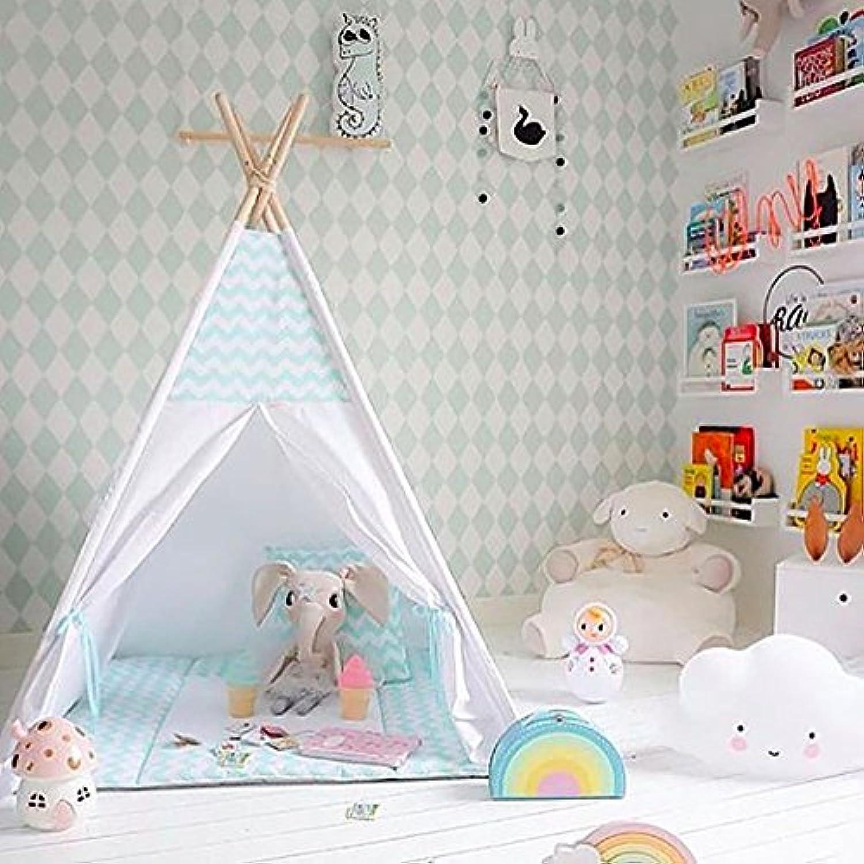 グリーンストライプデザインPlay Teepee 100 %コットンキャンバスポータブル屋内テントforボーイズand Girls Children Playhouse withマット