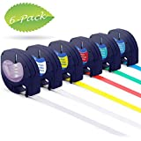 Compatible DYMO LetraTag Labeling Tape 12mm, Combo Set 91331 16952 91332 91333 91334 91335 Plastic Label Tape for DYMO LT-100H LT-100T XR QX50 Label Maker, 1/2 inch x 13 Feet, 6-Pack