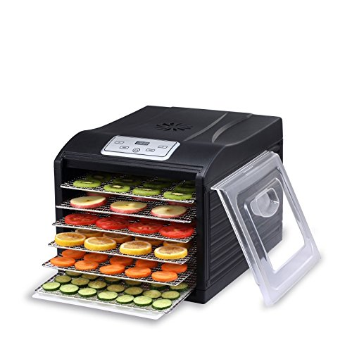 BioChef Arizona Sol Food Dehydrator 6 x BPA FREE Stainless Steel Drying Trays & Digital Timer - Includes: 1 x Non Stick & 1 x Fine Mesh Sheet & Drip Tray. Best Drier for Raw Food, Fruit, Jerky (Black)