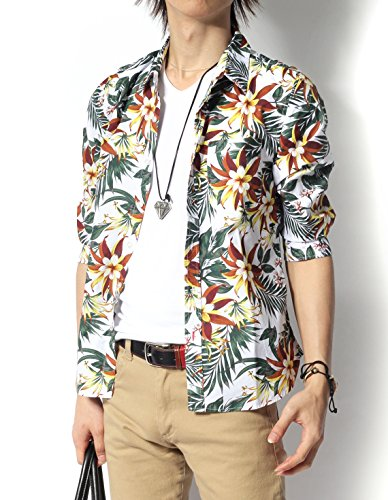 (リピード) REPIDO シャツ メンズ 七分袖シャツ 花柄 アロハ ブロード B.ホワイト Mサイズ