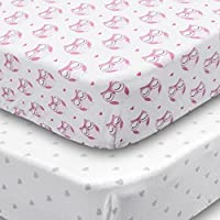 Playard Sheets 2 Pack Fitted Soft Jersey Cotton Playpen Sheet Bedding with Pink Owls and Grey Hearts Design Fits Standard Pack n Play Mattress for Babies and Toddlers [並行輸入品]