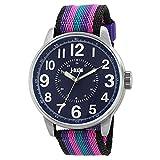 J-AXIS ミリタリーナイロンベルト腕時計 サンフレイムの人気ウォッチ ユニセックス パープル AG1265-PU