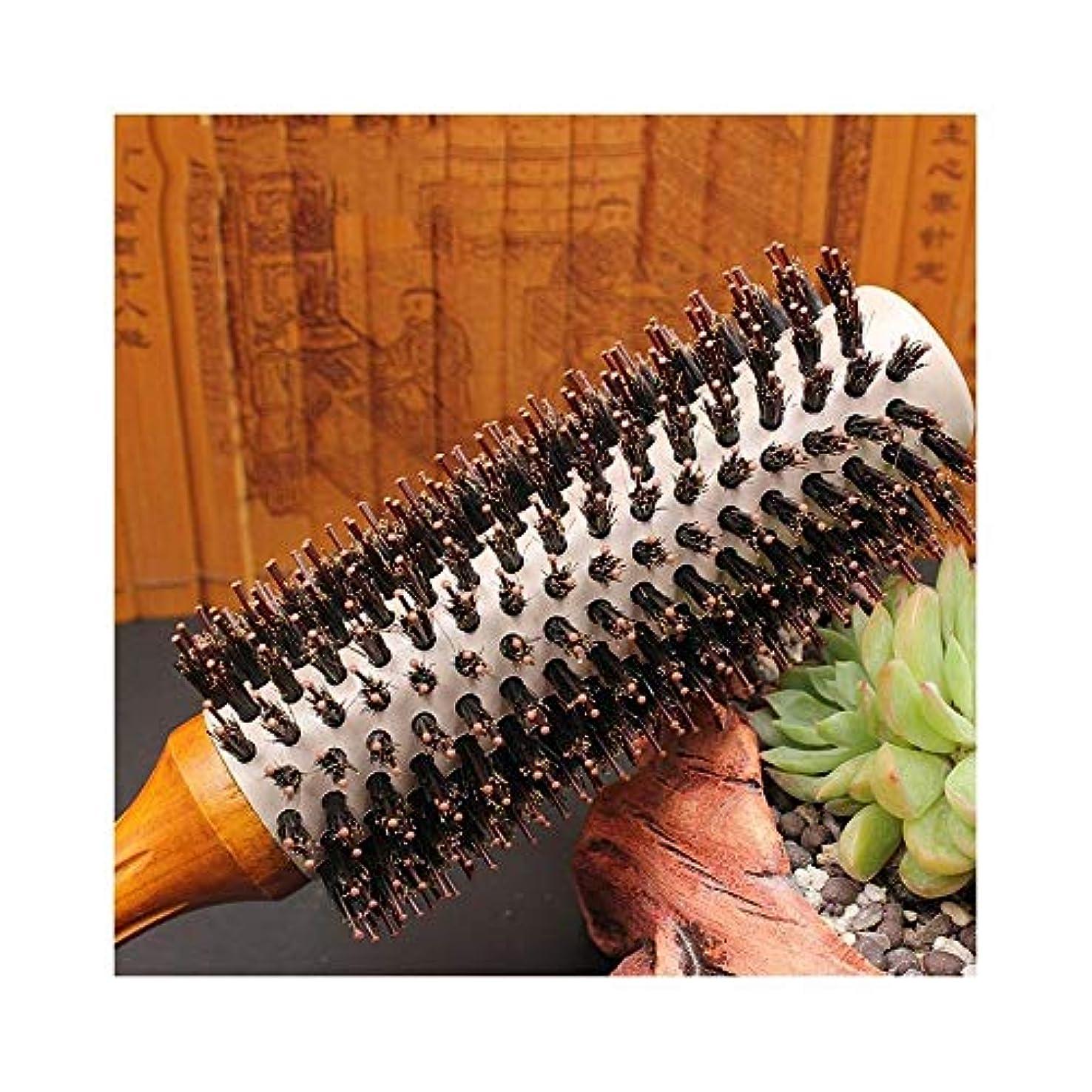 動作ファウル砲兵ヘアコーム理髪くし すべてのヘアスタイルのためにイノシシ毛&ナイロンピン - プロフェッショナルイノシシ毛ラウンド櫛ドライヘアブラシブロー ヘアスタイリングコーム (Size : XL)