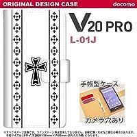 手帳型 ケース L-01J スマホ カバー V20 PRO ゴシック 黒 nk-004s-l01j-dr1005