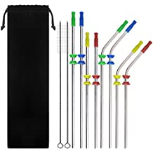 8 Pack Stainless Steel Straws Bent + Straight with 4 Colors Silicone Silencers and Comfort Tips Cover SENHAI Metal Drink Straw for 30 20 Ounce YETI Rambler Cup RTIC Ozark Trail with 2 Brushes