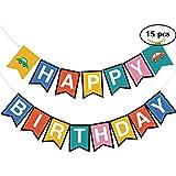 15pcsカラフルTransportations Cars Happy誕生日バナーホーム装飾車のテーマの誕生日パーティー