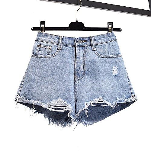 [RSWHYY] レディース デニム ショートパンツ ダメージ裾 大きいサイズ ゆったり  Aライン ライトブルー L