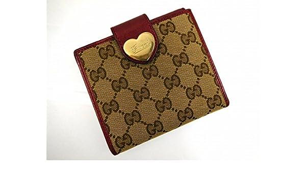 df589408b5fe Amazon   (グッチ) Gucci 二つ折り財布 Wホック財布 ハート金具 GGキャンバス レディース 中古 U1790   財布