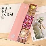【ゴールデンローズギフトボックス】6石鹸のバラの花/せっけんの花/かわいいバラ/素敵な女の子/ママへのユニークな贈り物/誕生日/母の日/記念日/バレンタインデー/卒業プレゼント/あなたが愛した人のための女性 (ピンク)