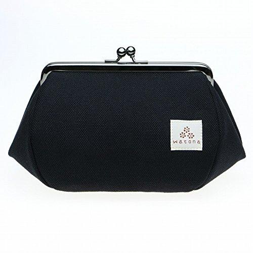 watona 帆布がま口 化粧ポーチ 4.5寸 Lサイズ (ブラック)