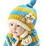 【Anjelly】 ベビー & キッズ 用 ニット帽 & マフラー (ボタン付き ネックウォーマー ) セット ベースボール 選べる6色 (ブルー×イエロー)