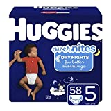 HUGGIES OverNites Diapers, Size 5, 58 Count, Overnight Diapers (Packaging May Vary)