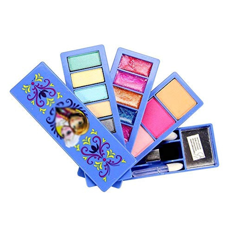 HJXDJP - 子供用化粧品セット高級のプリンセスメイクアップ玩具スーツ 、多色アイシャドウとブラッシュ化粧品付属 & 折り畳み式パウダーボックス付きドレスアップキット (青)