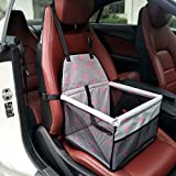 Waterproof Pet Booster Seat Safety Car Front or Rear Seats Cover for Dog Cat Cage Comfort Travel Foldable with Seat Belt Tether (Pink-F)