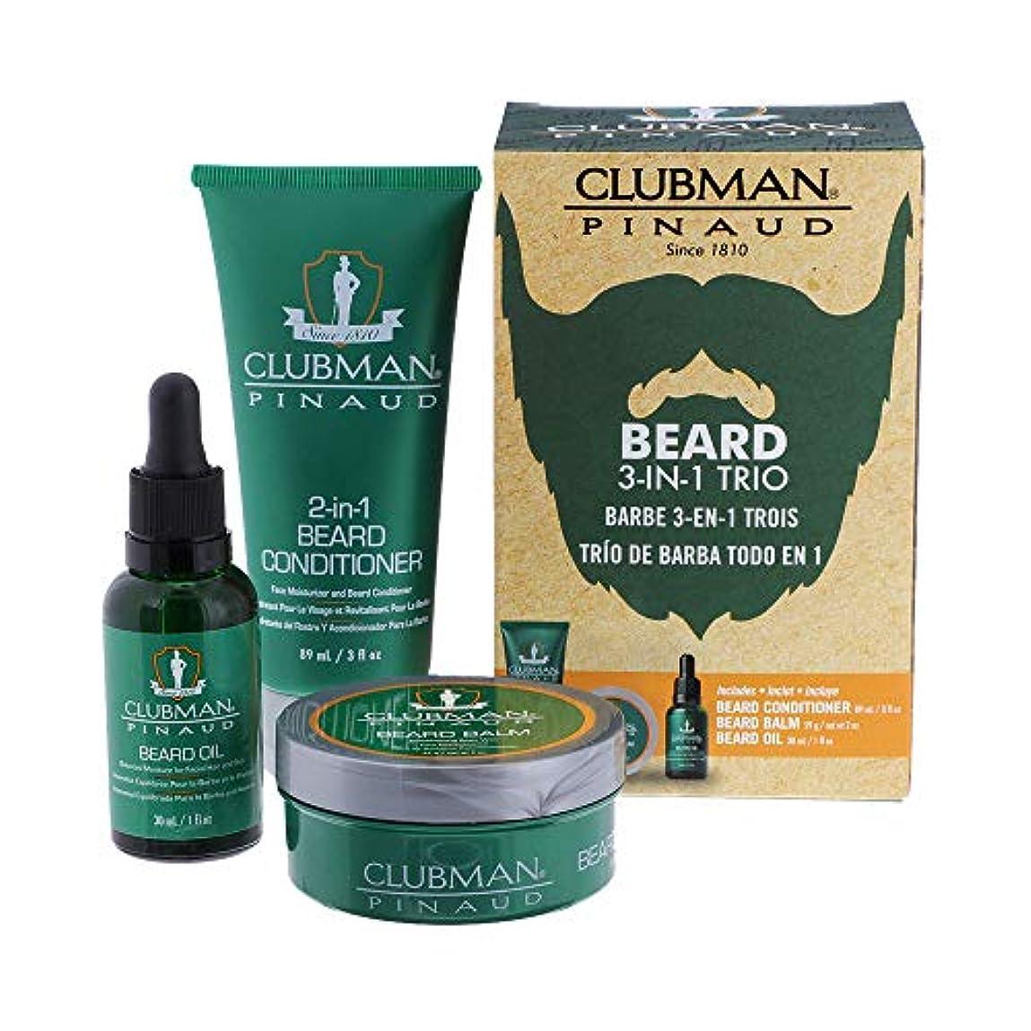 民主主義溝側溝CLUBMAN Beard 3 in 1 Trio - Beard Balm, Oil and 2 in 1 Conditioner (並行輸入品)