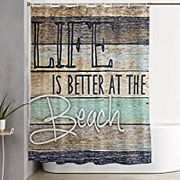 Life-Is-Better-At-The-Beach-Coaster 浴室の窓の装飾のための生地のホックが付いているポリエステル防水シャワー・カーテン60X72in