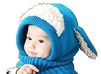 【Y's factory】ベビー キッズ ひつじ 羊 耳 ニット 帽 子 ネックウォーマー ガールズ ボーイズ ユニセックス 秋 冬(ブルー): 服&ファッション小物