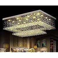 長方形ガラスクリスタル天井照明器具フラッシュマウントLED天井照明器具K9クローム仕上げガラスドロップレット