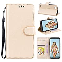 MrStar, LG Q6 Case Wallet Leather, LG Q6 Case with Card Holder and Kickstand, LG Q6 Wallet Case with PU, PU Case Cover for LG Q6 Golden