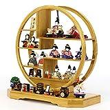 雛人形 一秀 丸窓竹製円形台 十五人飾り お道具揃い HNIS-ISH-15 木目込み ひな人形 コンパクト