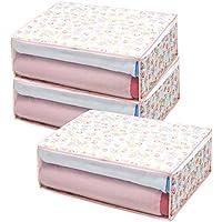 アストロ 毛布保存ケース 3個組 不織布製 チューリップ柄 通気性に優れた生地で、毛布やタオルケットを大切に保管します! 168-02