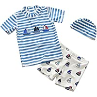 BATHAN Baby Toddler Boys Two Pieces Rash Guard Swimsuit Kids Sun Protective Bathing Suit With Hat UPF 50+