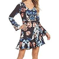 Cooper ST Blue Black Floral Print Ruffled Tie-Back 12 A-Line Dress