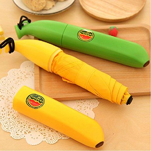 〖Happy Life Co.,ltd〗爽やかなグリーンの未成熟バナナ傘 携帯バナナケース 折りたたみ傘 おもしろグッズ 【グリーン】 KA0038