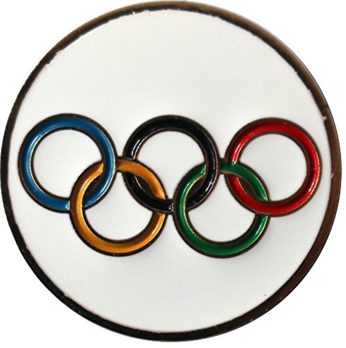 ピアノを弾く誰協会オリンピックリングゴルフボールマーカー&ゴールド帽子クリップ