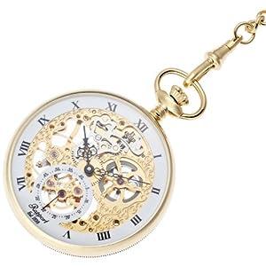 [ラポート]RAPPORT 懐中時計 オープンフェイス スモールセコンド スケルトン 手巻き式 ゴールド PW88 【正規輸入品】