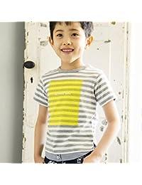 べべ(BeBe) 【カタログ掲載】天竺ボーダーレイヤードTシャツ【グレー系/100cm】