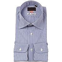 (ユニバーサルランゲージ) HAND MADE/ワイドカラードレスシャツ/Fabric by THOMAS MASON/ブルー×ホワイト